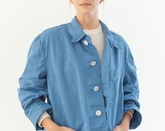 Vintage Sky Blue Chore Jacket | Unisex Navy Blue Cotton Utility Work Coat | L XL |