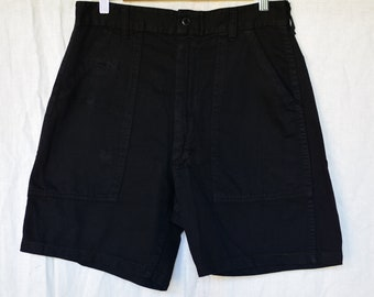 Vintage 29 Waist Black Cotton Shorts | Zipper Fly | High Rise Workwear | Fatigue Shorts | MENDED |  BS23