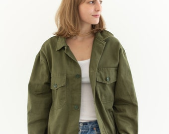 Olive Green Two Pocket Work Jacket | Unisex Cotton Utility Workwear | Made in Italy | M L | IT129