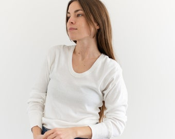 The Bergen Thermal | Vintage Cotton Blend White Long Sleeve Thermal | Scoop Neck Layer | U neck