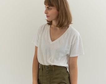 Vintage Cotton White V Neck Tee T Shirt   Semi sheer T-Shirt Tee Shirt Top   Made USA   S   T038 