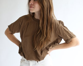 Vintage Army Brown T-Shirt | Olive Brown Crewneck Tee Cotton | M L | Large
