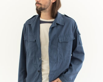 Vintage Slate Blue Over Shirt | Unisex Utility Work Jacket | Cotton Blend | M | IT119