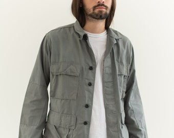 Vintage Slate Grey Cotton Ripstop Lightweight Jacket | M L |