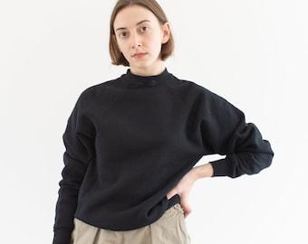 Vintage 90s Black Raglan Sweatshirt | Heavyweight Blank 50 50 Comfy Lounge | Made in USA | XS S |
