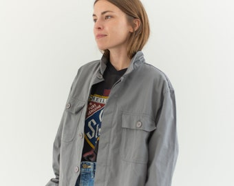 Vintage Light Grey Two Pocket Work Jacket | Unisex Utility Workwear | Made in Italy | M L | IT126