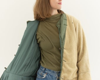Vintage Reversible Green Cream Liner Jacket | Pile Nylon Coat | S  |