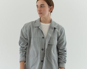 Vintage Dove Grey Coat   Cotton Utility Work Jacket   M   IT065