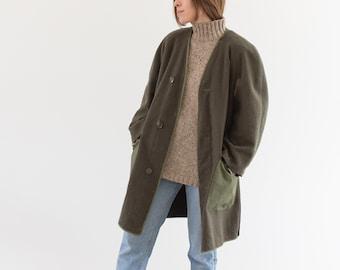 Vintage Green Wool Liner Jacket | Long Reversible layer Nylon Vest Coat | S M |