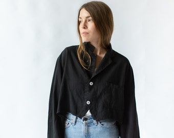 Vintage Black Crop Jacket | Chore Bolero | Overdye | S M