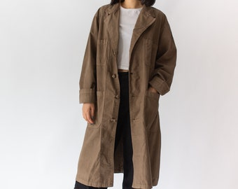 Vintage Mushroom Brown Overdye Knot Shop Coat | Brown Chore Trench Jacket | long smock work chore coat style duster |