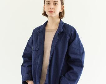 Vintage Navy Blue Work Jacket | Raglan Sleeve Single Pocket | Made in Italy Coat | Cotton Workwear | M L | IT152