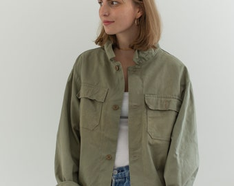 Imperfect Sage Green Two Pocket Work Jacket | Unisex Cotton Utility Work Jacket | Made in Italy | M L | IT128