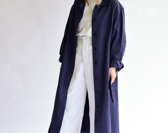 Vintage Navy Blue Trench Coat   Belted Duster Jacket   Made in Italy  