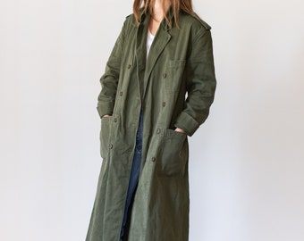 Vintage Green Long Trench Shop Coat | 60s Dutch Military Olive Jacket | long smock work chore coat style duster | M