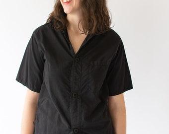 Vintage Black Silky Short Sleeve Shirt | Simple Blouse | Black Cotton Work Shirt | S M L