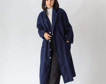 The Corozo Shop Coat in Rich Navy Blue | Vintage Overdye Chore Trench Jacket | Painter Duster | S M L XL