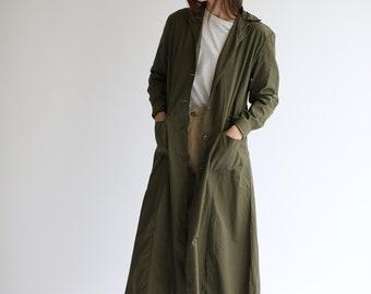 Vintage Green Lightweight Duster Coat | Olive Jacket | MarthaSmock |