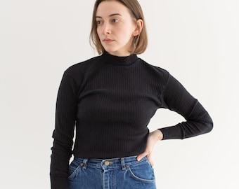 Vintage Black Ribbed Cotton Mockneck Shirt | Long Sleeve Layer Top | Washed Deadstock | XS