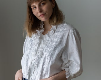 Vintage White Puff Sleeve Shirt | Floral Embroidery Romantic Blouse | M L | BP125