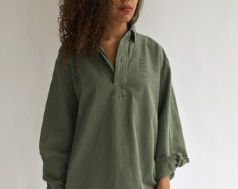 Vintage Sage Green Popover Tunic Shirt | Pullover | Cotton Henley | M