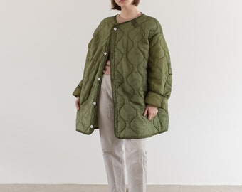 Vintage Green Liner Jacket White Buttons | Quilted Nylon Coat | L XL | LI010