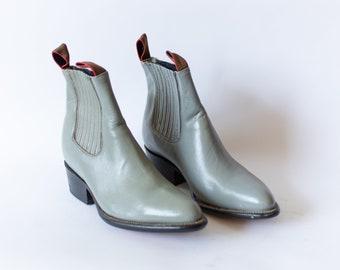 Size 8.5-9   Vintage Deadstock 80s Western Boot   Cloud Blue Grey Chelsea Boot  