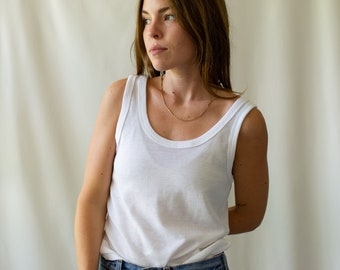 The Ischia Tank | Vintage White Tank Top | Cotton Two Way Scoop Undershirt | Semi-sheer Singlet | XS S