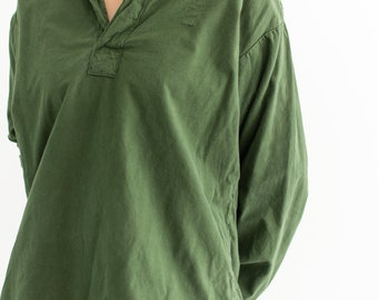 Vintage Forest Green Popover Tunic Shirt | Pullover | Cotton Henley | L | GP007