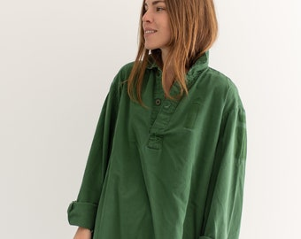 Vintage Sage Green Popover Tunic Shirt | Pullover | Cotton Henley | L XL | GP010