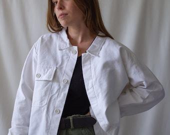 Vintage White Moleskin Work Coat | Cotton Jacket | Vintage Workwear | Made in Italy |  M