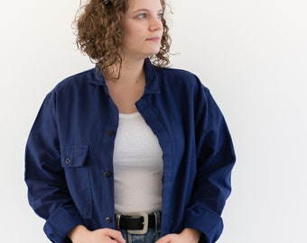 Vintage Navy Blue Work Jacket | Single Pocket Made in Italy Coat | Moleskin | M L | IT178