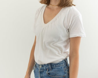 Vintage Cotton White V Neck Tee T Shirt   Semi sheer T-Shirt Tee Shirt Top   Made USA   S   T029