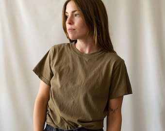 The Lima Tee | Vintage Brown T Shirt | 100% Cotton Crew Neck Tee Shirt | S |