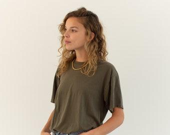 Vintage Olive Green T Shirt | 100% Cotton Crew Neck Tee Shirt | M |