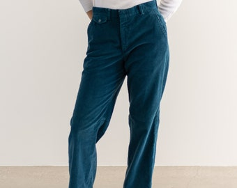 Vintage 30 Waist Teal Blue Corduroy Trousers | High Rise | Made in USA |