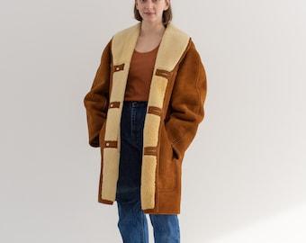 Vintage J Press Tan Suede Ranch Jacket | Unisex Wool Sheepskin Patchwork | Westshire Made in England | M