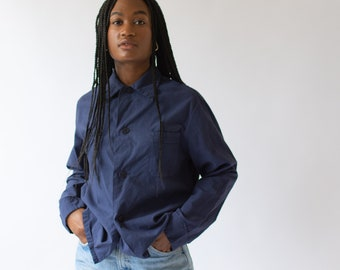 Vintage Navy Blue Work Shirt Jacket | Paper Cotton | Overdye Button Up Over Shirt | S M