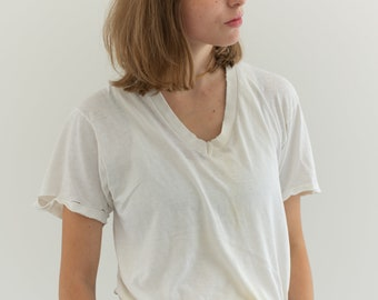 Vintage Cotton White V Neck Tee T Shirt   Semi sheer T-Shirt Tee Shirt Top   Made USA   S   T028  