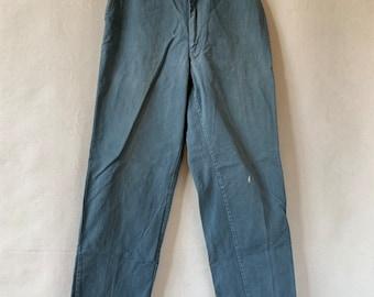 Hanger Sale FINAL Sale   Vintage 32 Waist Teal Cotton Twill Chinos Pants   TC02