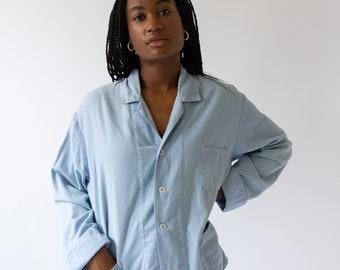 Vintage Light Blue Flannel Jacket Shirt | Pyjama Blouse Overshirt |