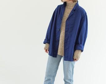 Vintage Navy Blue Work Chore Jacket | Unisex Cotton Utility Work Jacket | Made in Italy | L | IT165