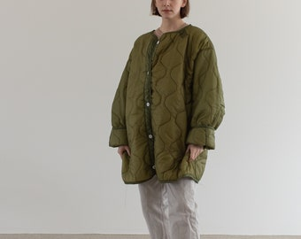 Vintage Green Liner Jacket White Buttons | Quilted Nylon Coat | L XL | LI014