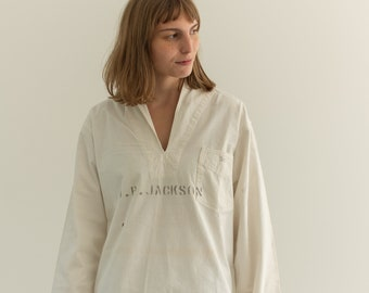 Vintage 40s White Cotton Sailor Shirt | Pullover Popover | Middy |