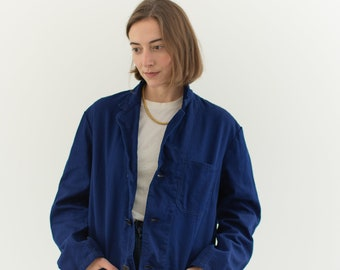 Vintage Dark Rich Blue Chore Coat | Navy Unisex Cotton Military Utility Work Jacket | Made in Italy | M | IT096