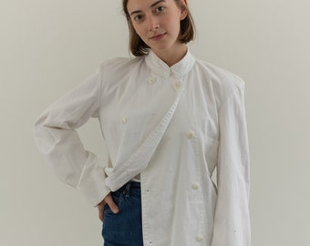 Vintage White Studio Jacket | Unisex Double Breast Cotton | S |