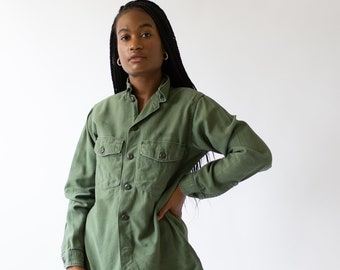 Vintage Olive Green Shirt Army Jacket | Sage Cotton Button Up |