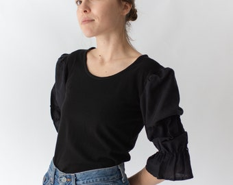Vintage Black Puff Sleeve Shirt | Bric Brac Trim | Romantic Blouse | S | BP029