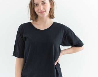 Vintage Black Scoop neck Tee T-Shirt | Holes Raggedy | S |