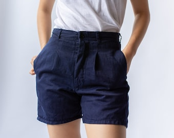 Vintage 25 26 27 28 Waist Navy Blue Pleat Shorts | French Workwear style |